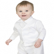 Boys White Anchor 5pce Satin Christening Suit